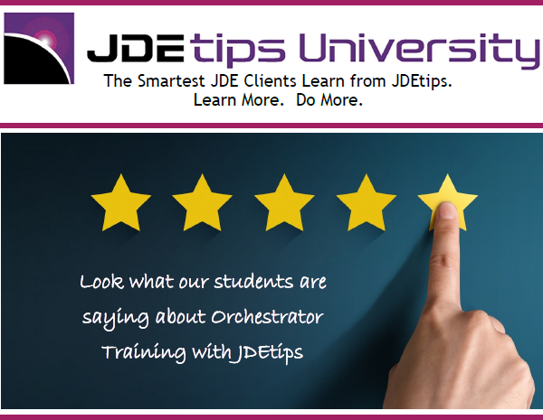 JDEtips Orchestrator Comments and Logo