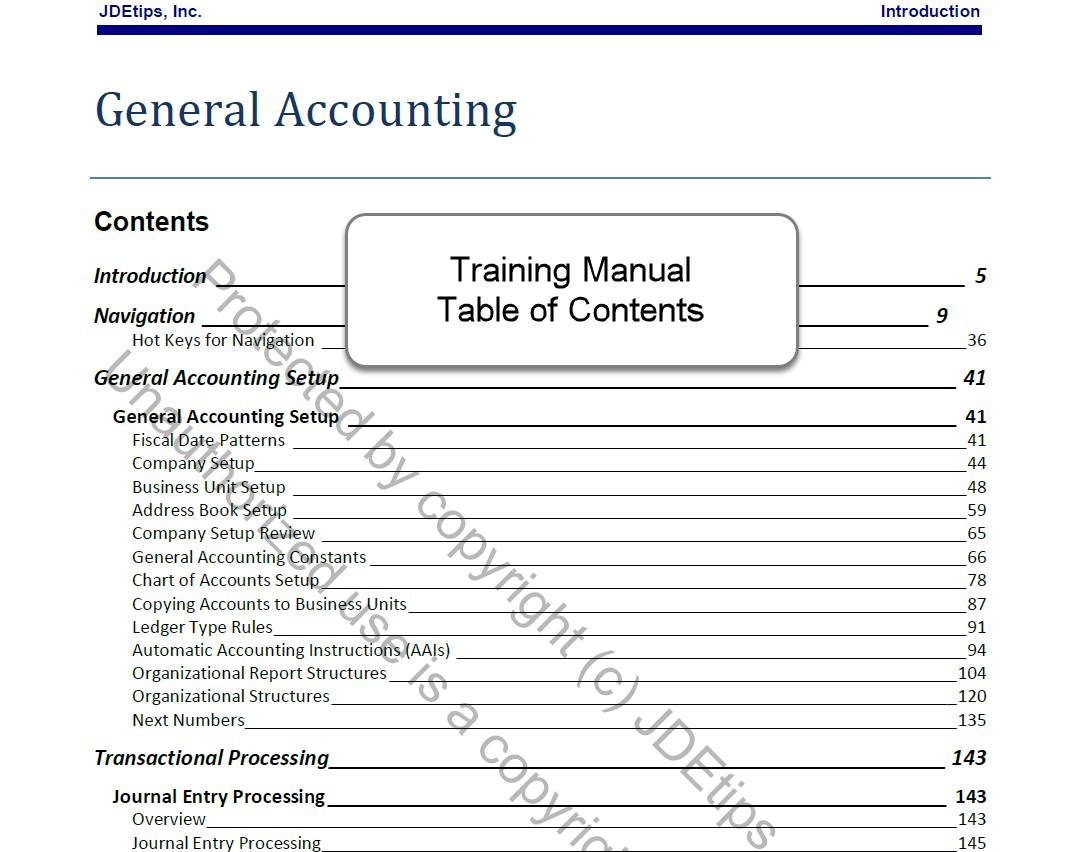jd edwards general accounting g l training