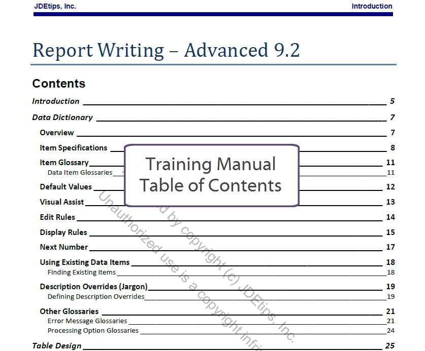 advanced jd edwards report writing training
